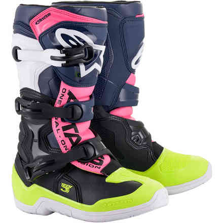 Stivali Tech 3s Youth Nero Blu Scuro Rosa Fluo Alpinestars