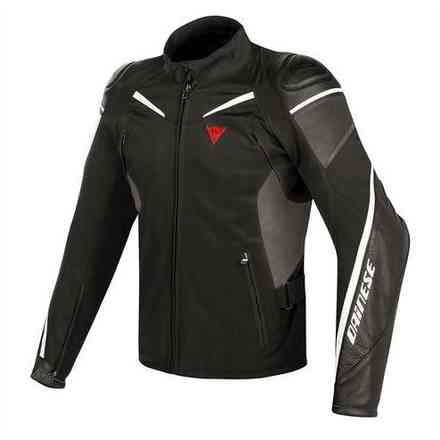 Street Master fabric and leather jacket black white anthracite Dainese