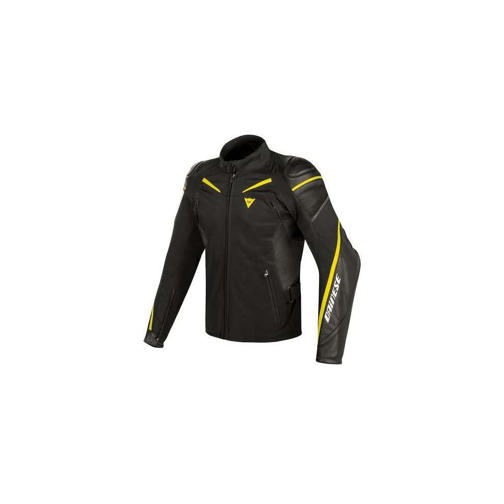 Street Master fabric and leather jacket black yellow white  Dainese
