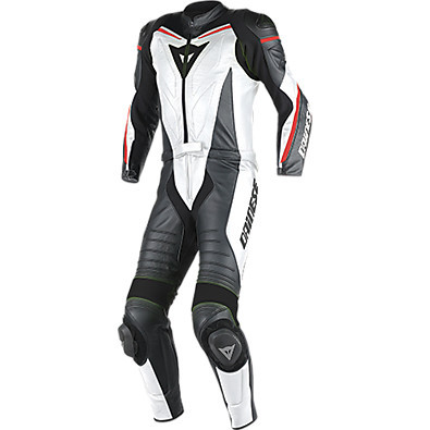 Suit Laguna Seca D1 2 pieces white-black-fluo red Dainese