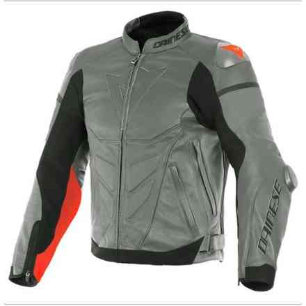 Super Race Leather Jacket Charchoal grey rouge Dainese