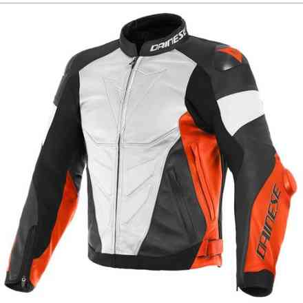Super Race Leather Jacket white red fluo black Dainese