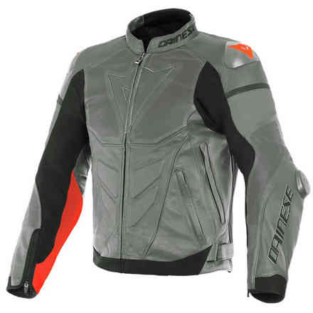 Super Race Perforated jacket Charcoal-Gray/Charcoal-Gray/Fluo-Red Dainese