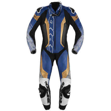 Supersonic Perforated Pro leather suit blue gold Spidi