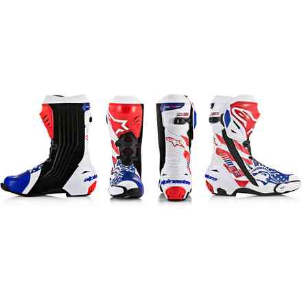 Supertech R White Red Blue Vent Boots Limited Edition Alpinestars