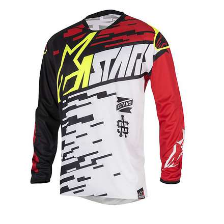 T-shirt cross Racer Braap 2016 white-black-red Alpinestars
