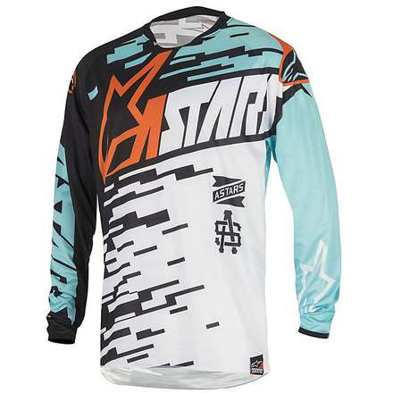 T-shirt cross Racer Braap 2016 white-turquoise-black Alpinestars