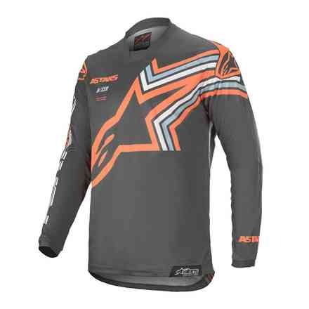 T-Shirt Cross Racer Braap Dunkelgrau Orange Fluo Alpinestars