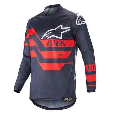 T-shirt  Cross Racer Flagship Jersey Dark Navy Blau Rot Alpinestars