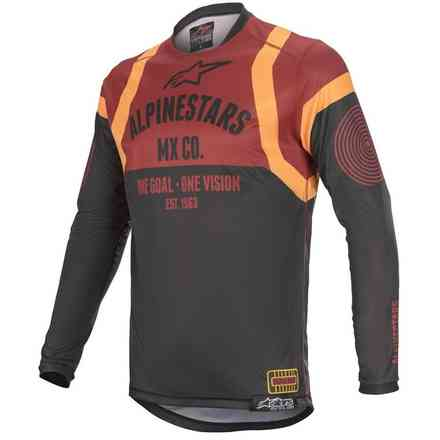 T-shirt Cross Racer Tech Flagship  Schwarz Bordeaux Orange Alpinestars