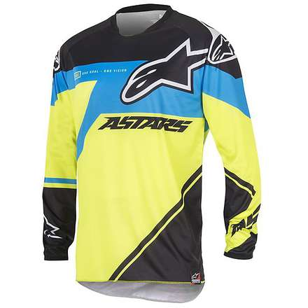 T-shirt cross Supermatic 2016 Schwarz-blau-gelb fluo Alpinestars