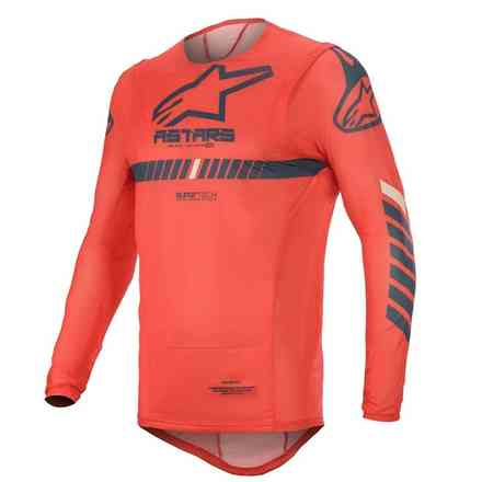 T-shirt Cross Supertech Bright Leuchtend Rot Navy Weiß Alpinestars