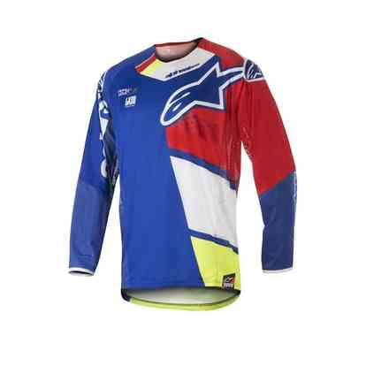 T-shirt cross Techstar Factory 2018 bleu rouge blanc jaune fluo Alpinestars
