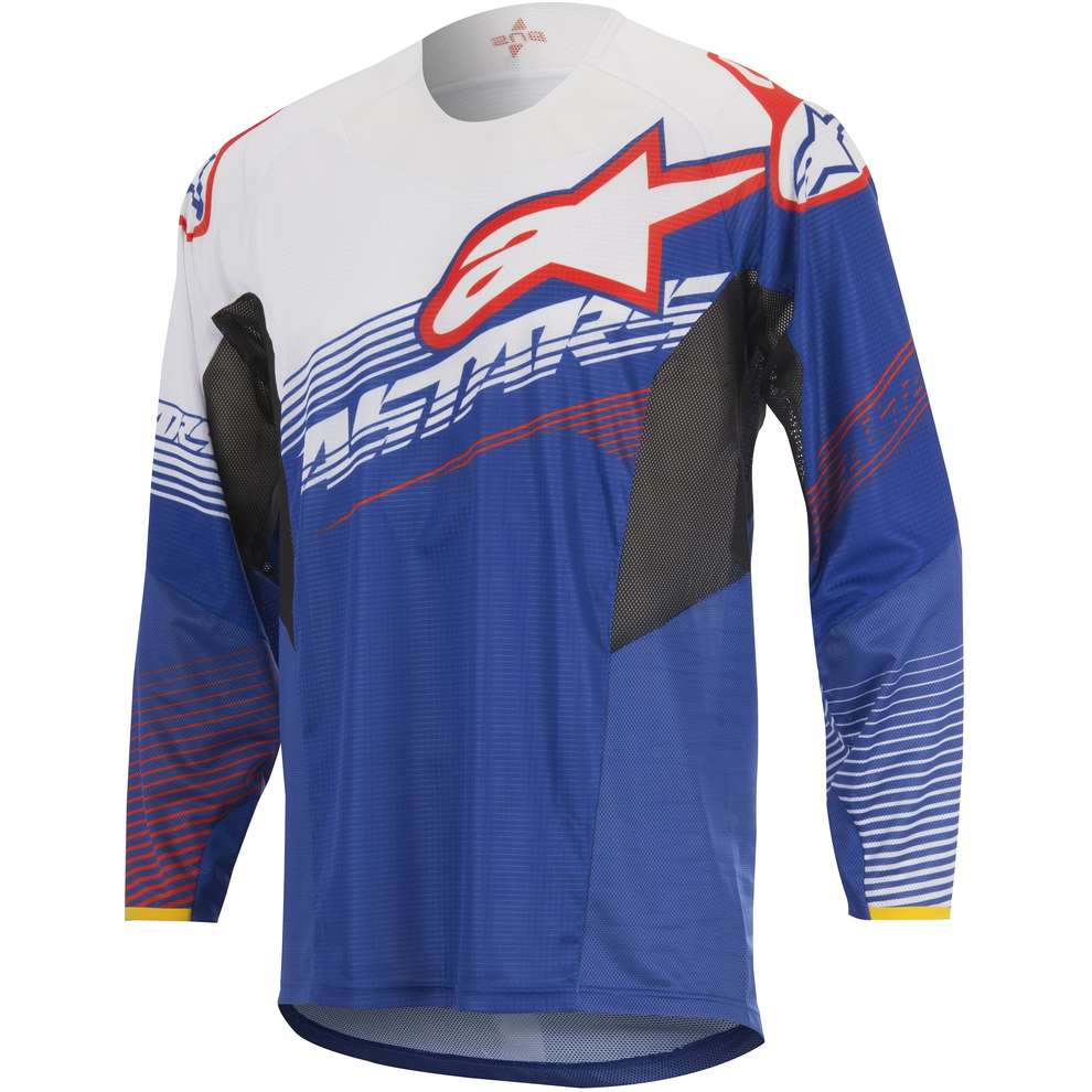T-shirt cross Techstar Factory bleu-blanc-rouge Alpinestars