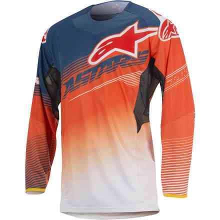 T-shirt cross Techstar Factory bleu-orange-blanc Alpinestars