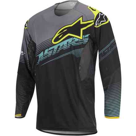 T-shirt cross Techstar Factory noir-jaune fluo Alpinestars