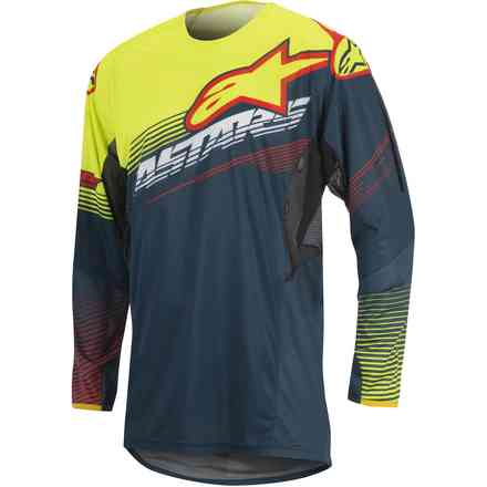 T-shirt cross Techstar Factory petrol-gelb fluo-rot Alpinestars