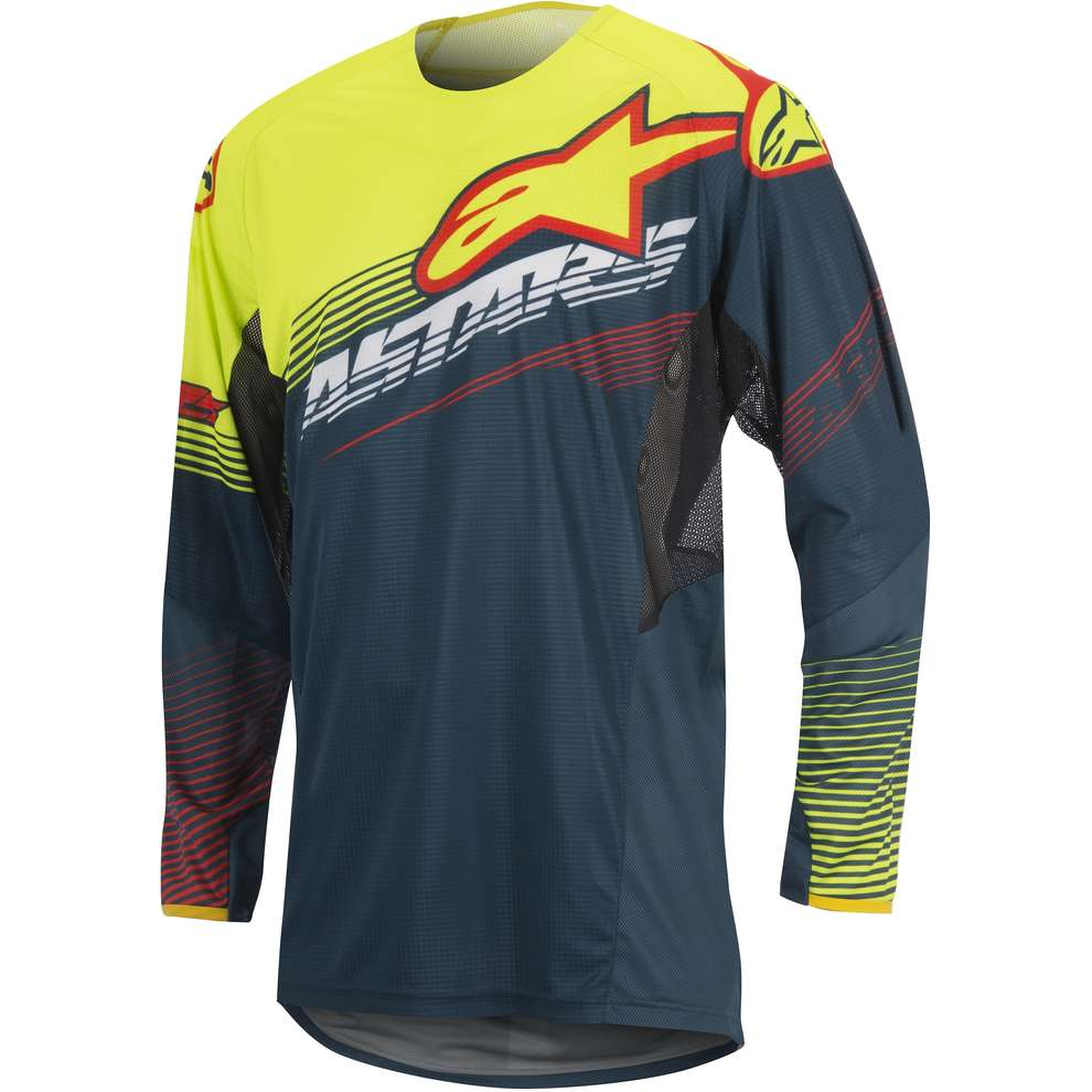 T-shirt cross Techstar Factory petrol-jaune fluo-rouge Alpinestars