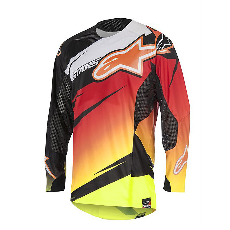 T-shirt cross Techstar Venom 2016 rouge-jaune fluo-noir Alpinestars