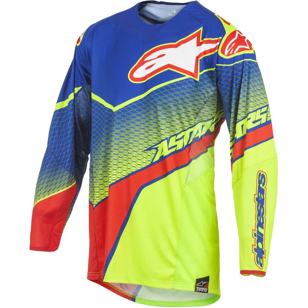 T-shirt cross Techstar Venom bleu-jaune fluo-rouge Alpinestars