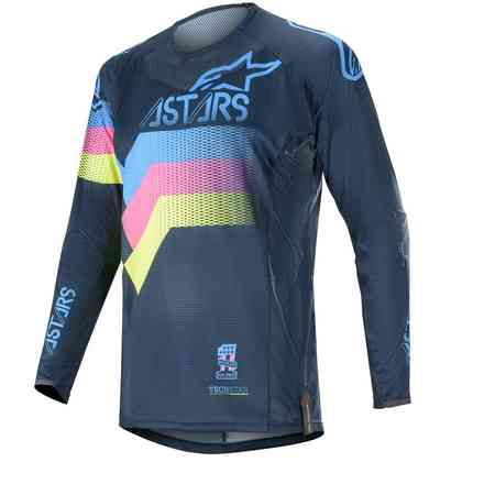 T-shirt Cross Techstar Venom Navy Aqua Pink Fluo Alpinestars