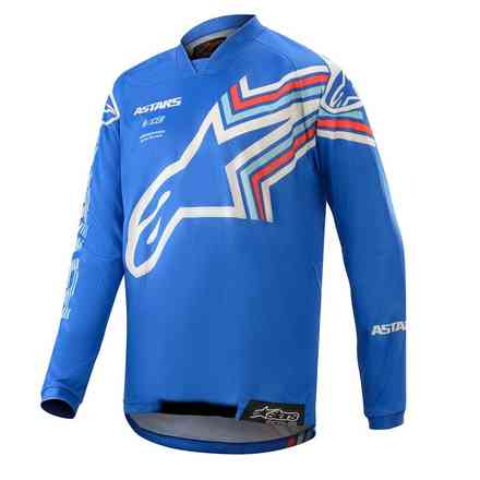 T-shirt Cross Youth Racer Braap Blau  weiß Alpinestars