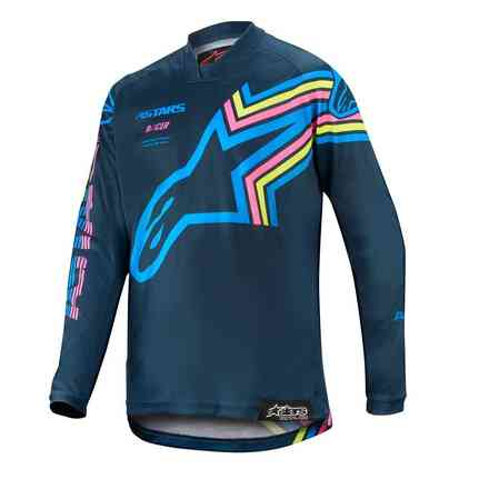 T-shirt Cross Youth Racer Braap Navy Aqua Pink Fluo Alpinestars