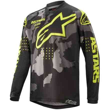 T-shirt Cross Youth Racer Tactical Schwarz Grau Camo Gelb Fluo Alpinestars