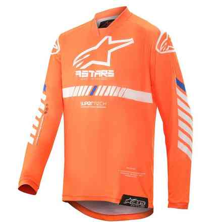 T-shirt Cross Youth Racer Tech Orange Fluo Weiß Blau Alpinestars