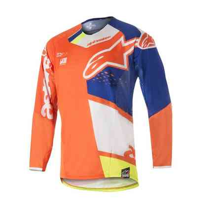 T-shirt Techstar Factory 2018 jaune fluo bleu noir orange fluo Alpinestars