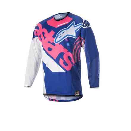 T-shirt Techstar Venom 2018 blue rose fluo blanc Alpinestars