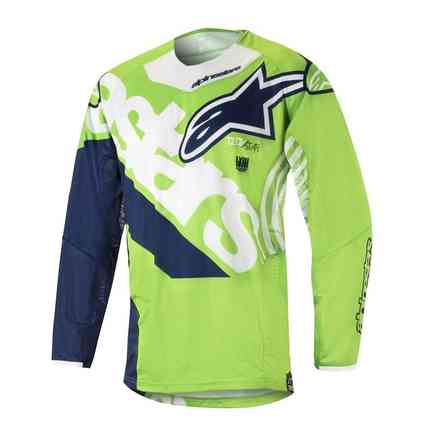 T-shirt Techstar Venom 2018 cross Grune Fluo Weiss Blau Alpinestars