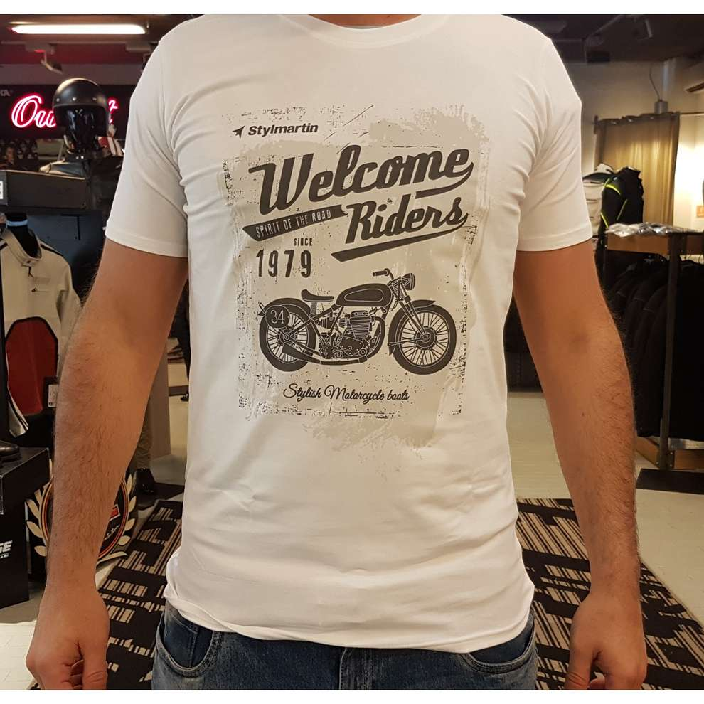 T-Shirt Welcome Riders Bianco Stylmartin