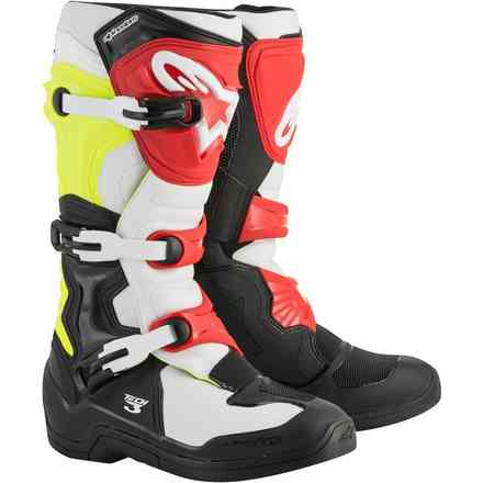 Tech 3 boots black white yellow red Alpinestars