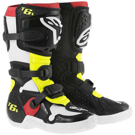 Tech 6 S Child Boots Black-Red-Yellow Fluo Alpinestars