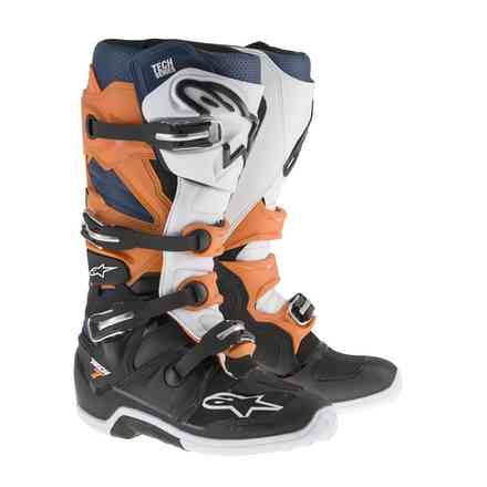 Tech 7 boots Black Orange White Blue Alpinestars