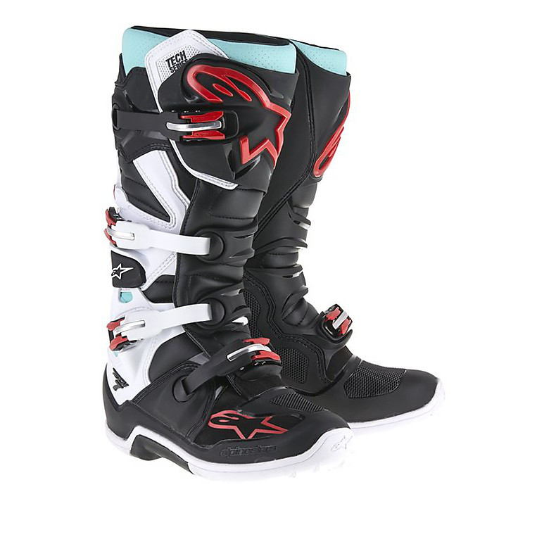 Tech 7 boots black-turquoise-white-red Alpinestars