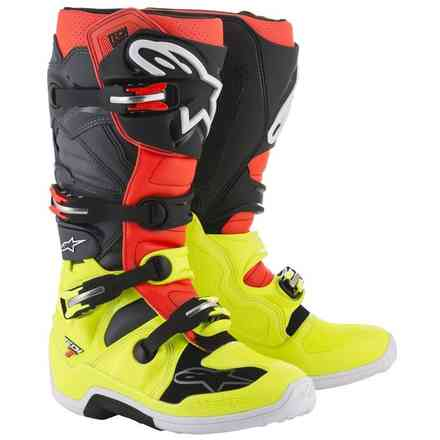 Tech 7 boots yellow fluo red fluo grey black Alpinestars