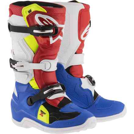 Tech 7S. Child Boots blue white red yellow Alpinestars