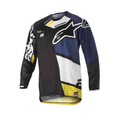 Techstar Factory 2018 t-shirt cross black dark blue white yellow Alpinestars