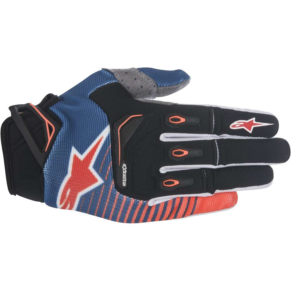 Techstar Factory blue-orange fluo-white Gloves  Alpinestars