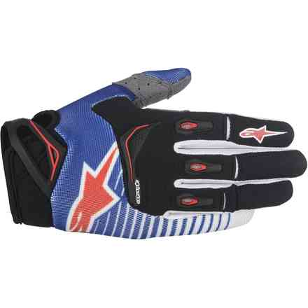 Techstar Factory blue-white-red Gloves  Alpinestars