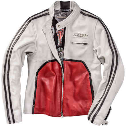 Toga72 Perforated Leather Jacket white red Dainese