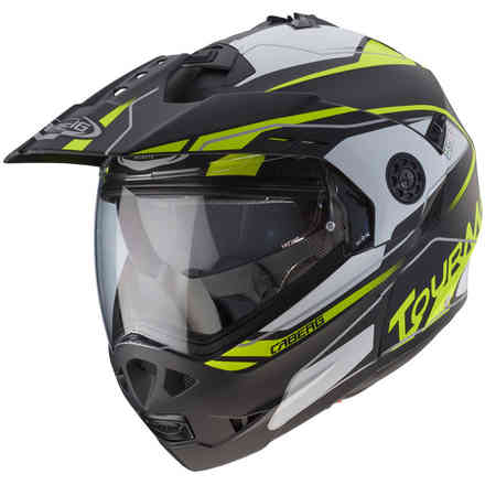 Tourmax Marathon helmet Matt black white yellow fluo  Caberg