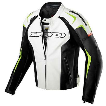 Track Leather Jacket lime green and black Spidi