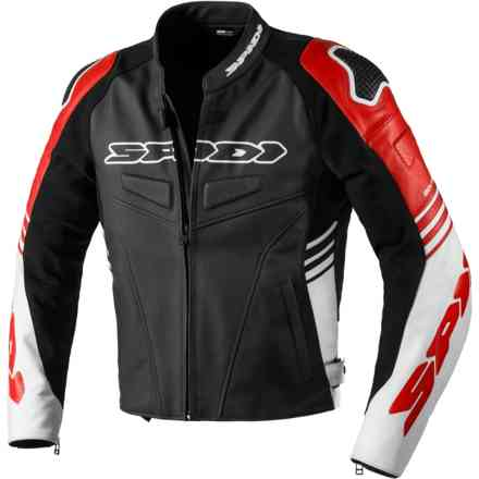 Track Warrior leather jacket black/Red Spidi
