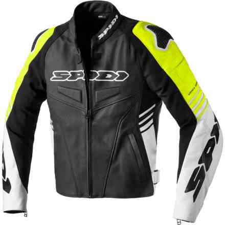 Track Warrior leather jacket Black/Yellow Fluo Spidi