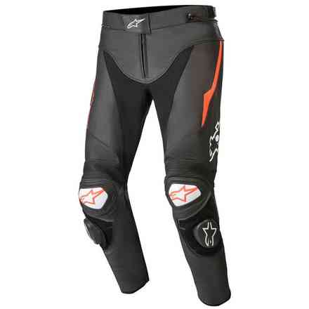 Trousers Track V2 Leather Black Red Fluo Alpinestars