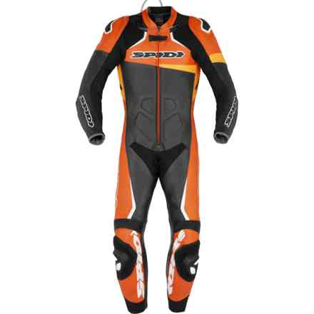Tuta Pelle Race Warrior Perf Nero Arancio Spidi