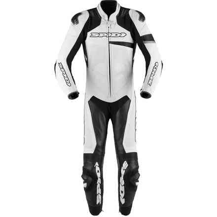 Tuta Pelle Race Warrior perforata bianco nero Spidi